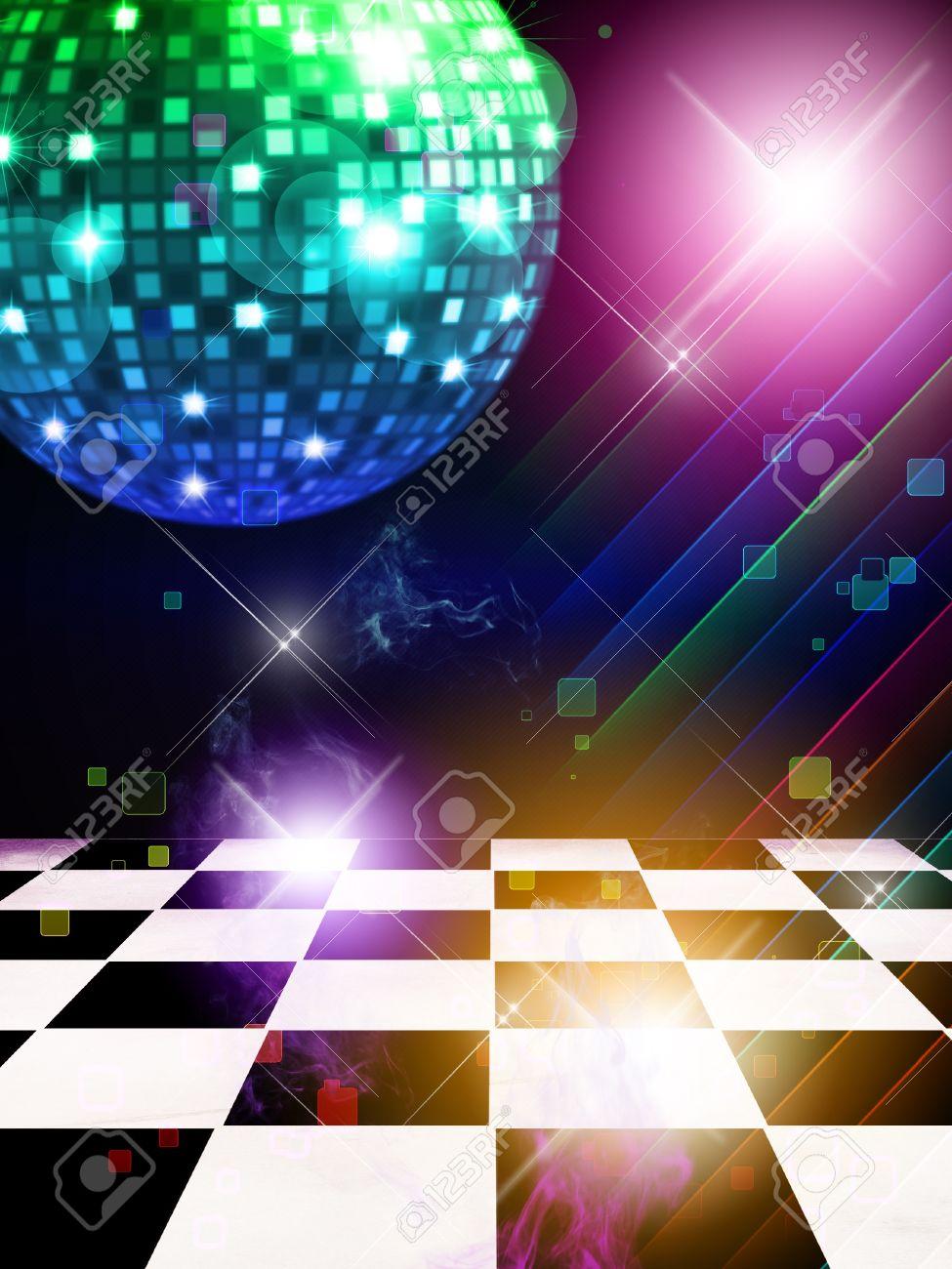 ダンスフロア ディスコ ミラー ボールや星の背景のイラスト の写真素材