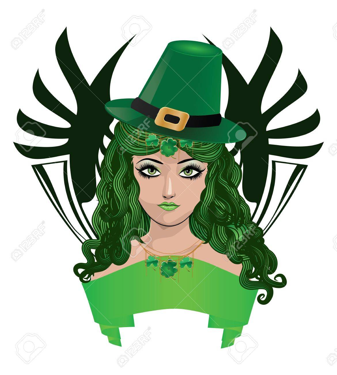 Illustration of girl with green hair and green hat, leprechaun girl. Stock Vector - 17259055