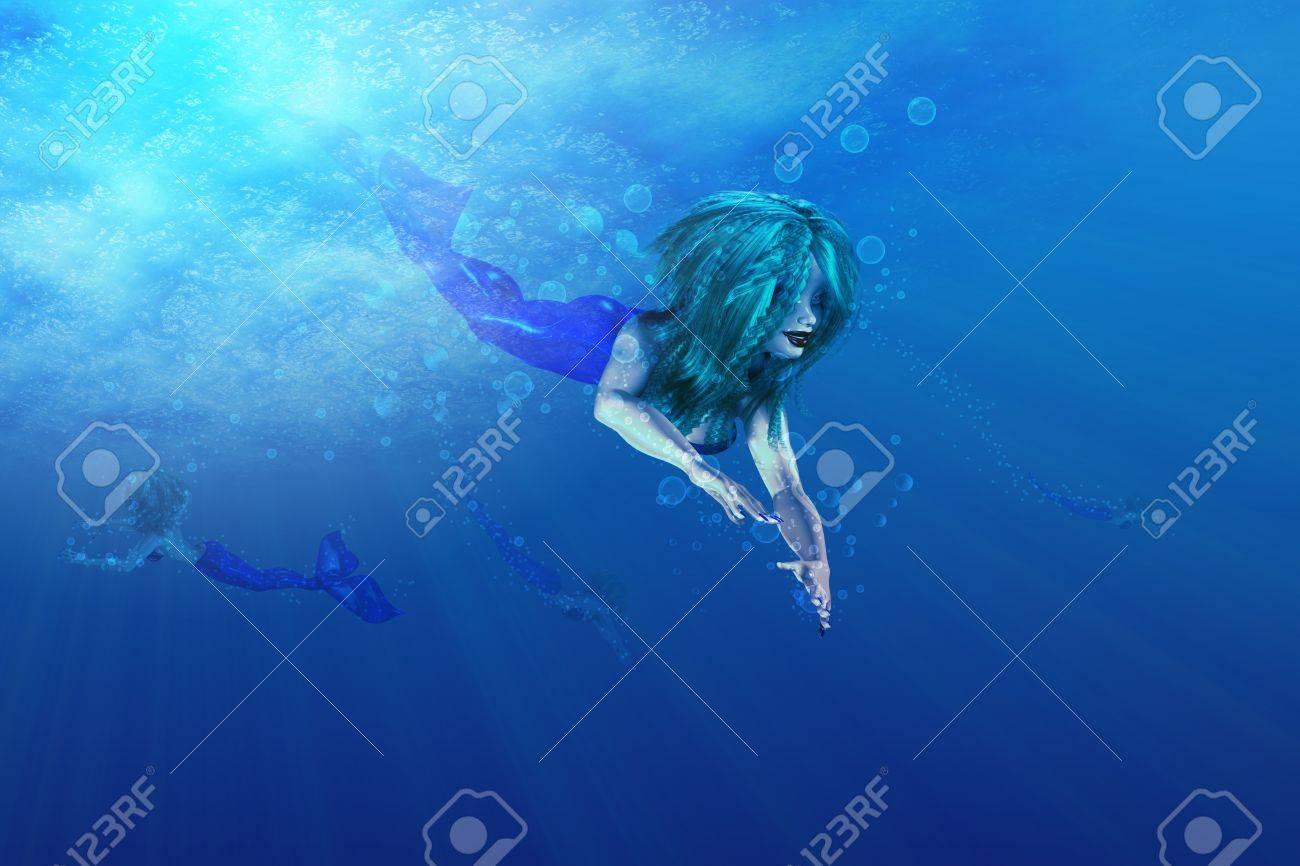 illustration of beautiful mermaid in underwater scene stock photo