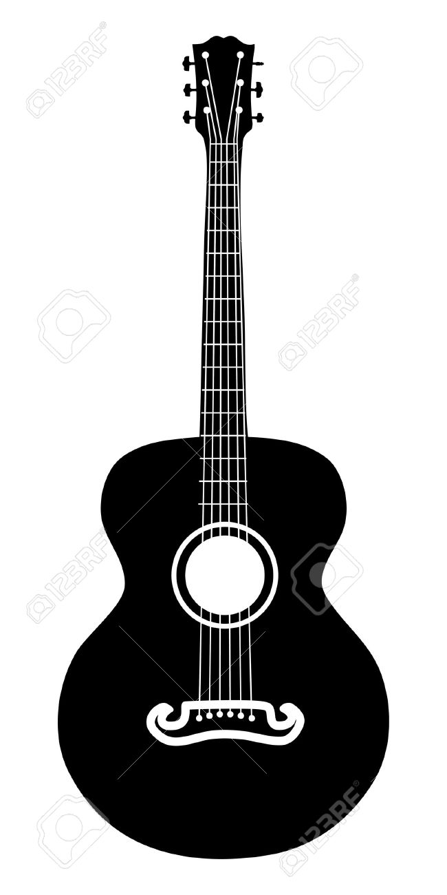 retro acoustic guitar six strings silhouette illustration royalty rh 123rf com acoustic guitar vector free download acoustic guitar logo vector