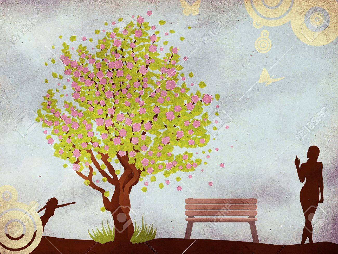 Illustration Of Cherry Blossom Tree, Bench And Woman On Grunge ...