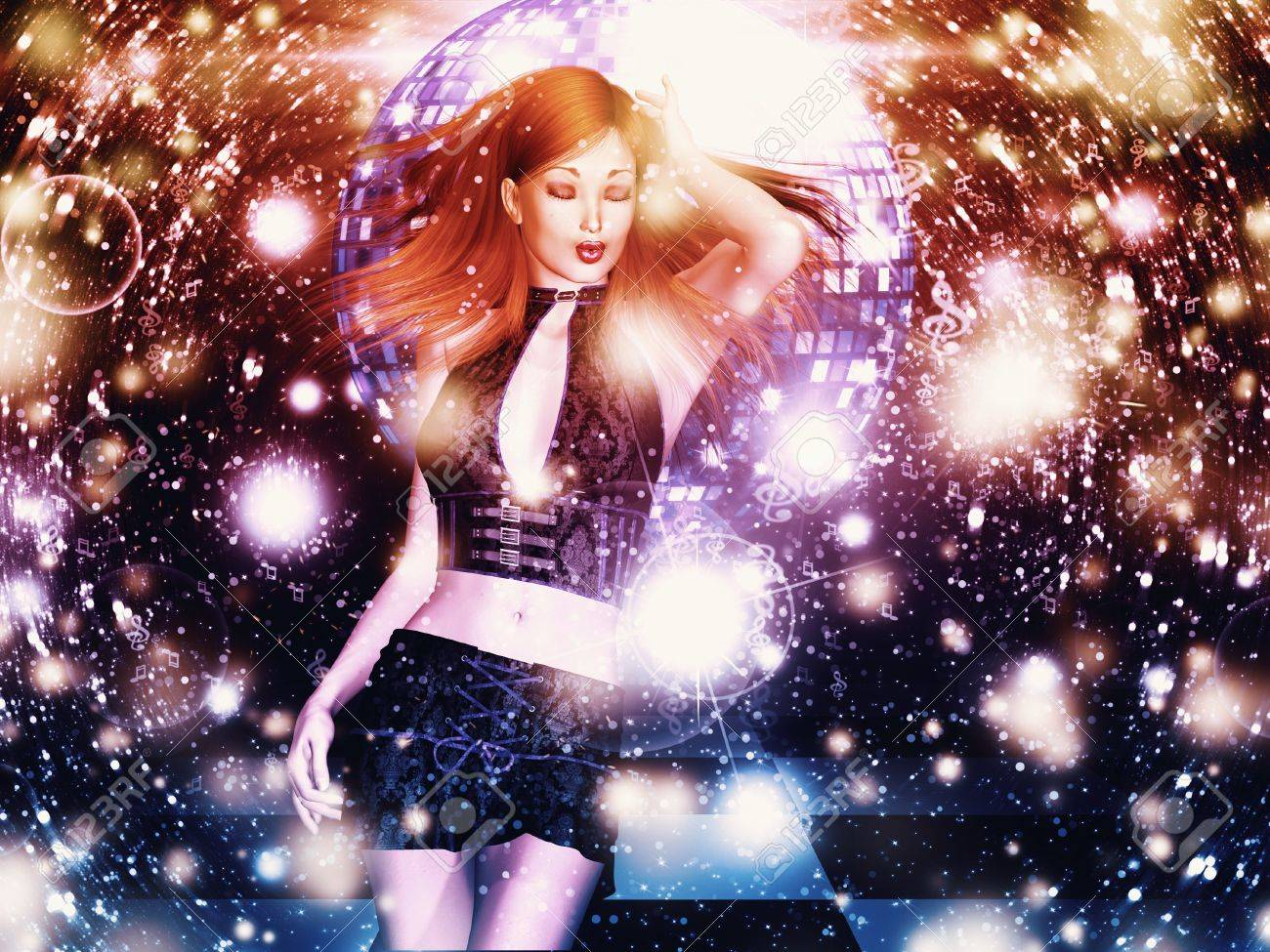 Illustration of 3d girl on dancing floor with disco ball background. Stock Illustration - 17476352