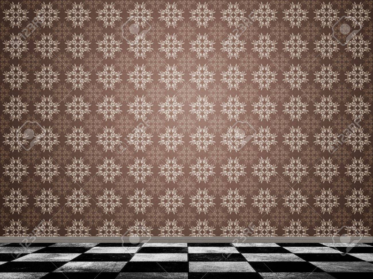 Illustration of background in with pattern wallpaper and checkered tile floor. Stock Illustration - 17787655