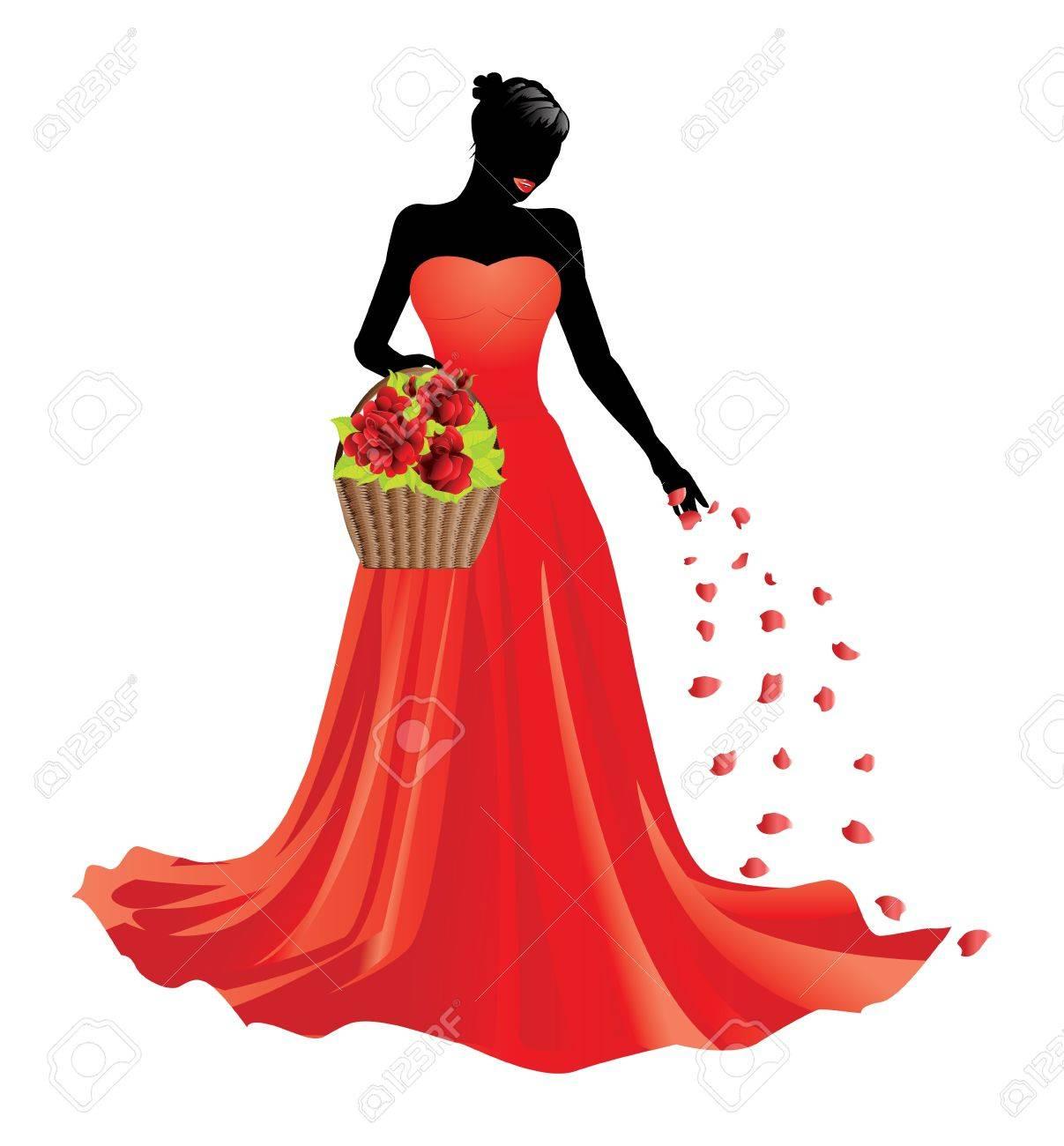Ilustración De La Chica De Vestido Rojo Con Una Cesta De Rosas