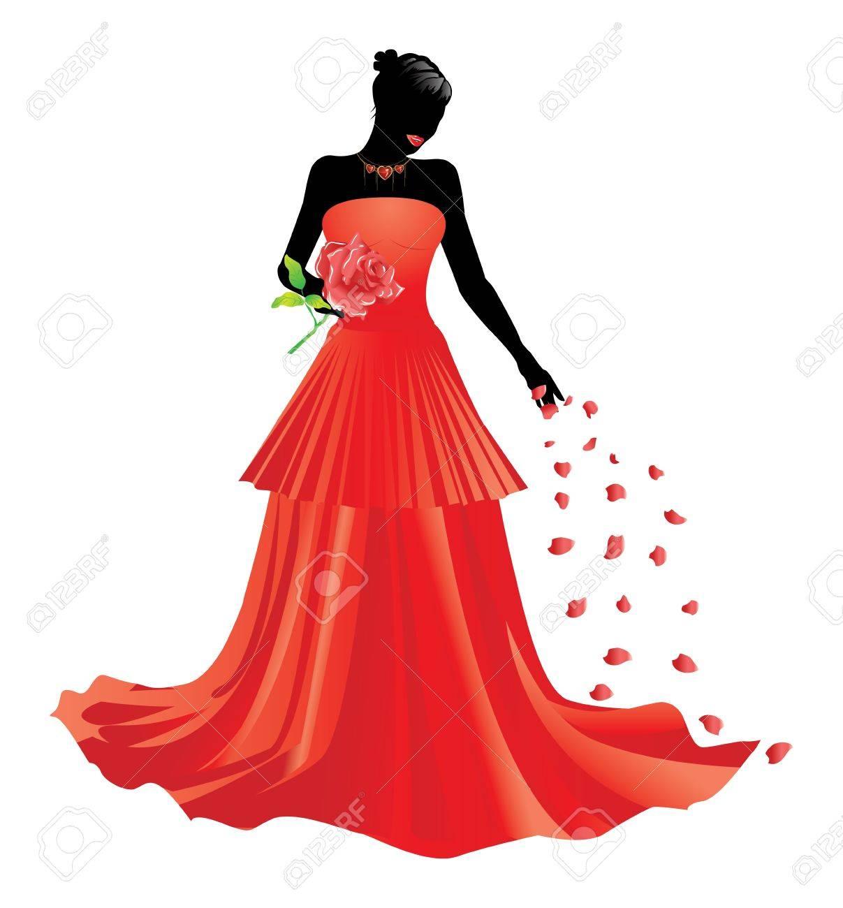 Девушка в красном платье clip