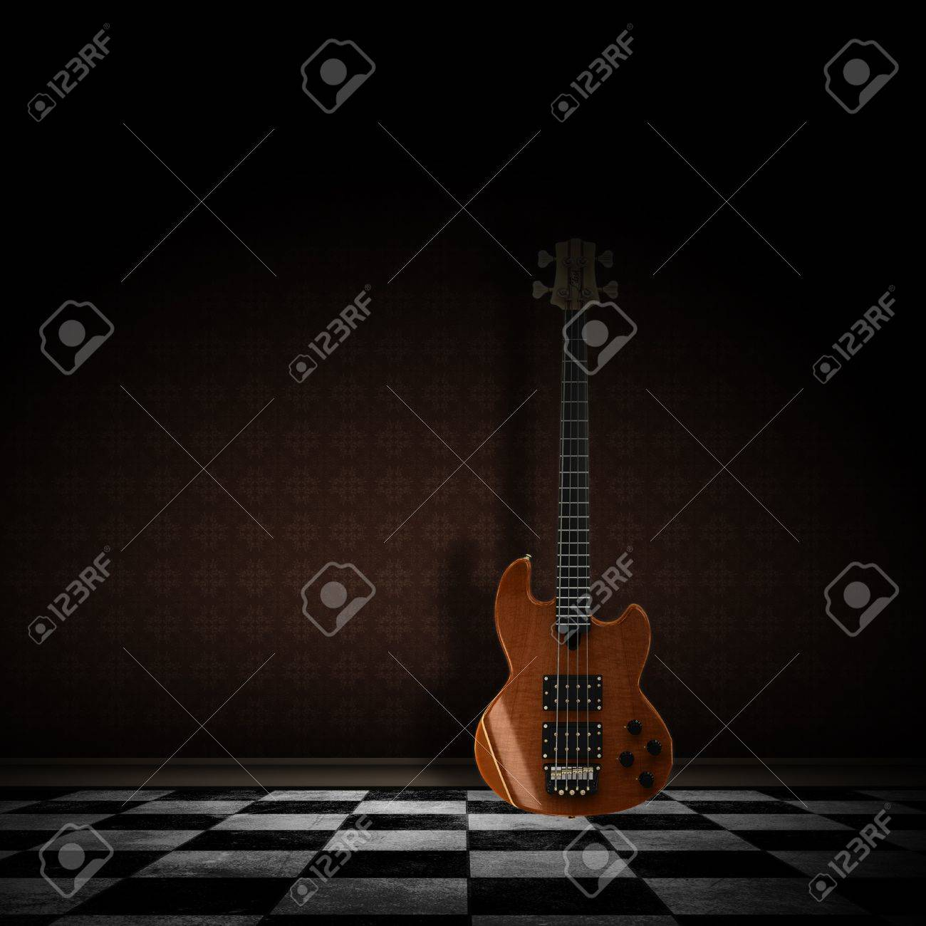 レトロな壁紙と市松模様の床と暗い部屋で 3 D ギター の写真素材