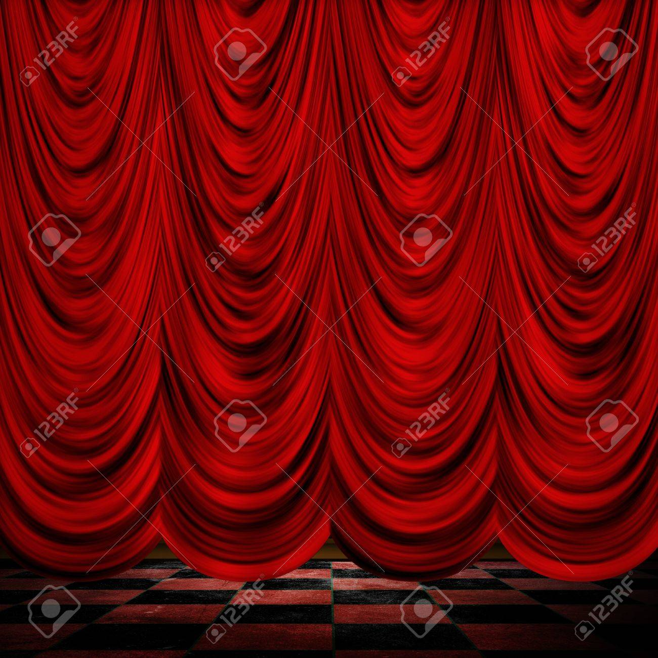 Closed theater curtains - Close View Of Decorative Red Theater Stage Curtains With Checkered Floor Stock Photo 18160917