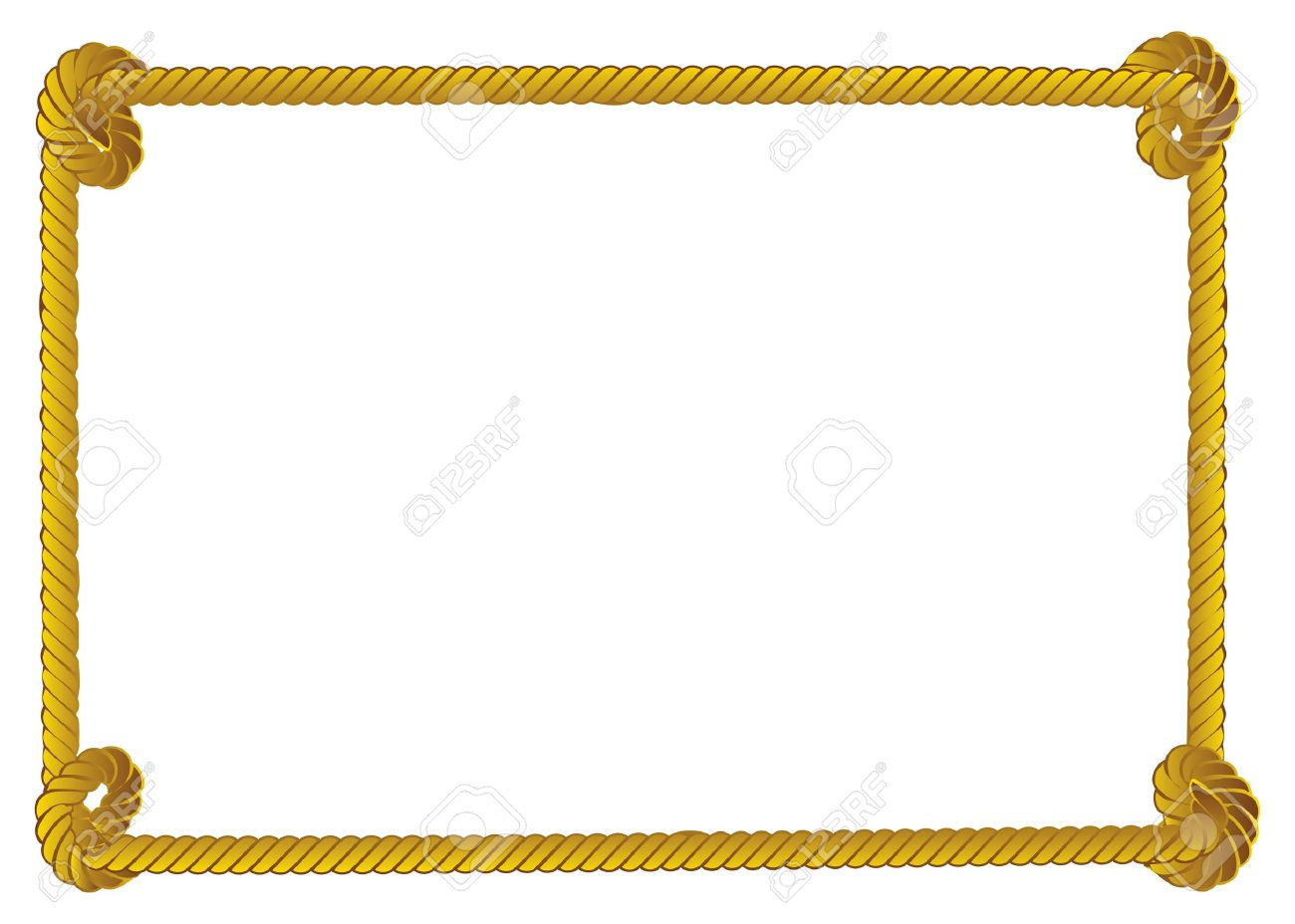 yellow rope frame border on white background stock vector 18182436