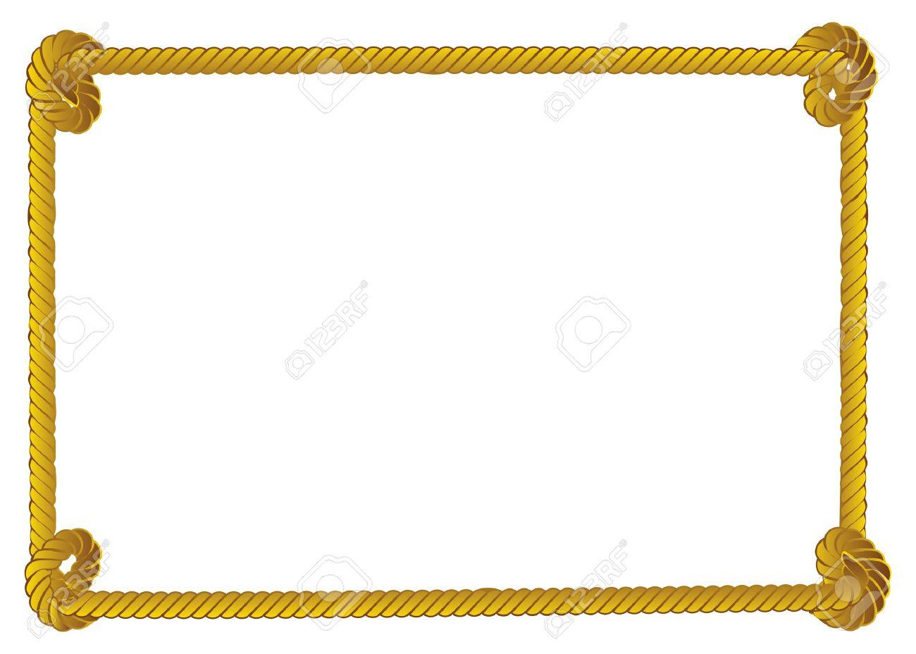 Gelbes Seil Rahmen, Grenze Auf Weißem Hintergrund. Lizenzfrei ...