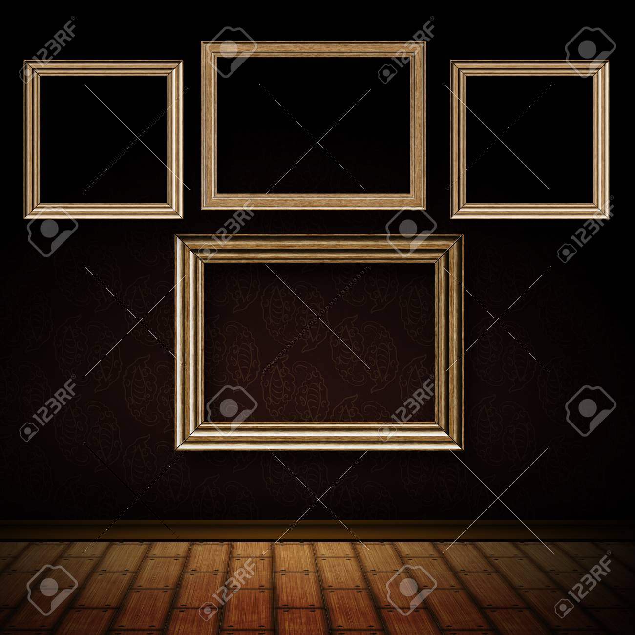 Grunge Old Room Interior With Vintage Wooden Frames. Stock Photo ...