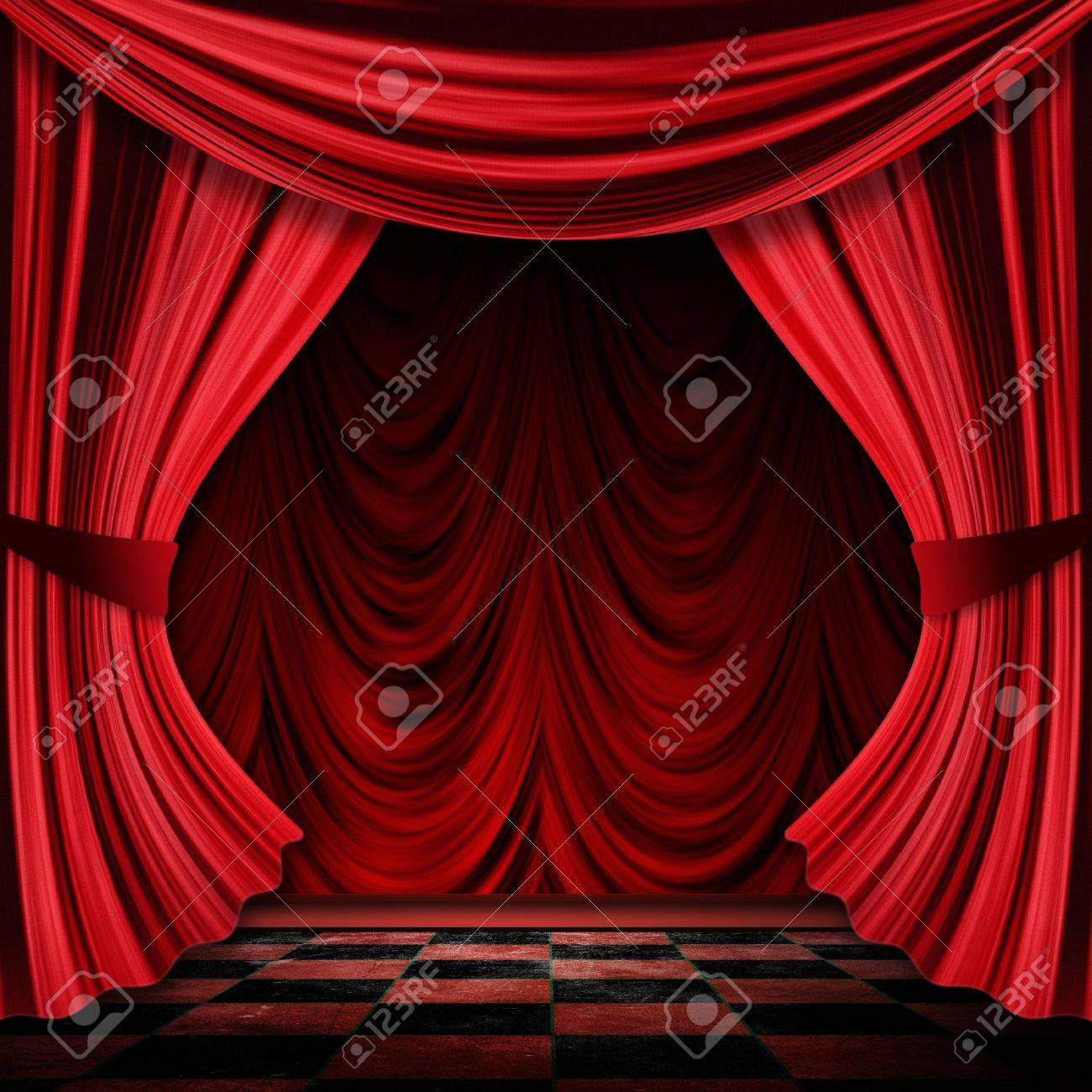 close view of vintage decorative red theater stage curtains stock