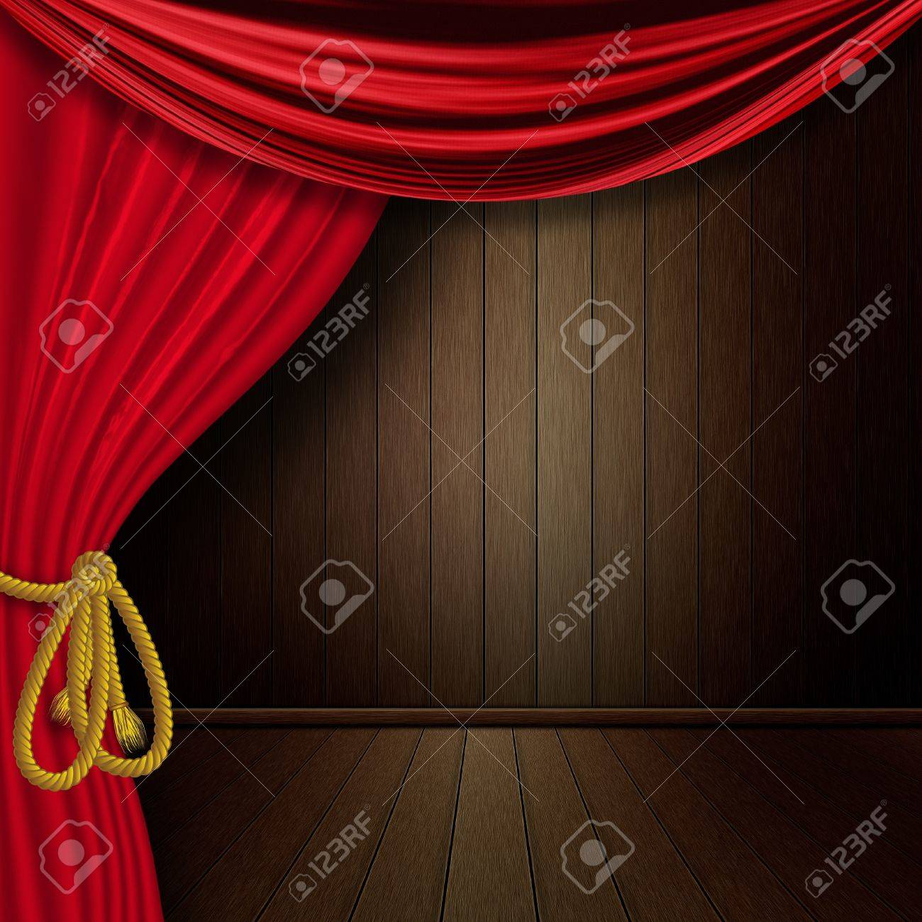 Old Dark Wood Interior With Red Curtain Background. Stock Photo   18352699
