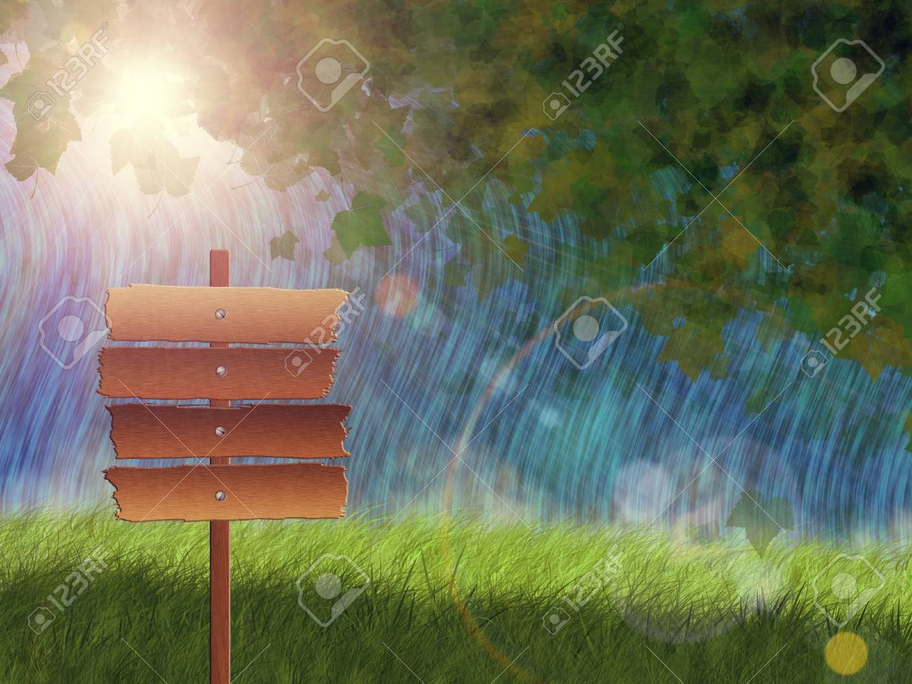 Rapid flows background with green grass, falling leaves and wood sign. Stock Photo - 18460148