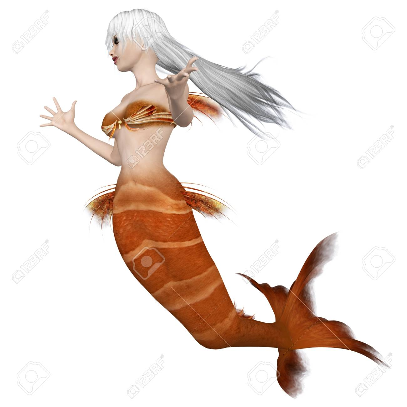 Digitally rendered image of a beautiful mermaid with orange tail and white hair. Stock Photo - 18495685