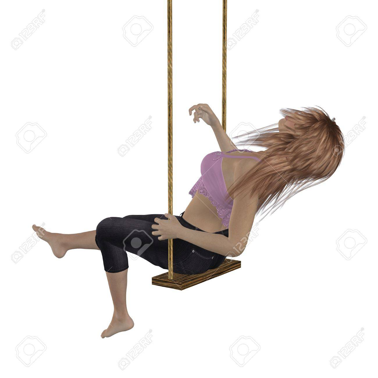 Digitally rendered image of a woman in pink top on swing over white background. Stock Photo - 18874663