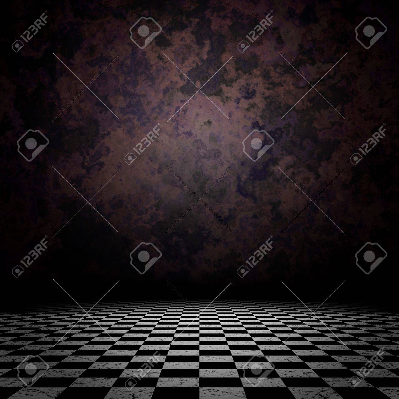 Grunge room interior with old wall and checkered floor background. Stock Photo - 19059740