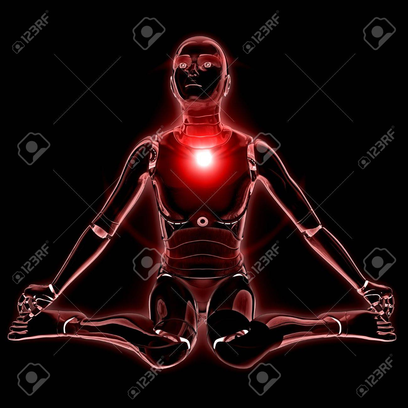 Humanoid robot glowing with flare over black background. Stock Photo - 19110280