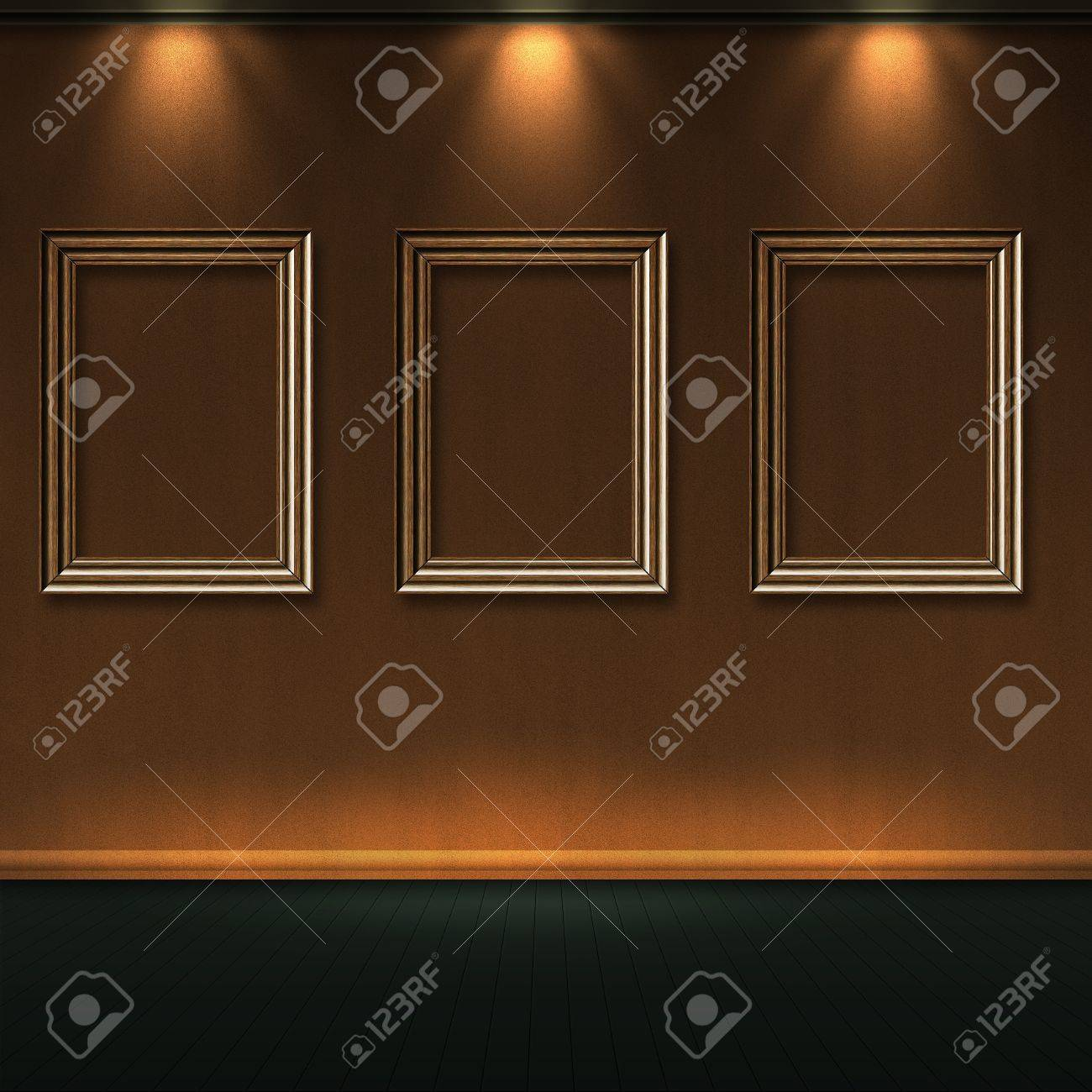 Empty Wooden Frames In Room With Lights On Wall. Stock Photo ...