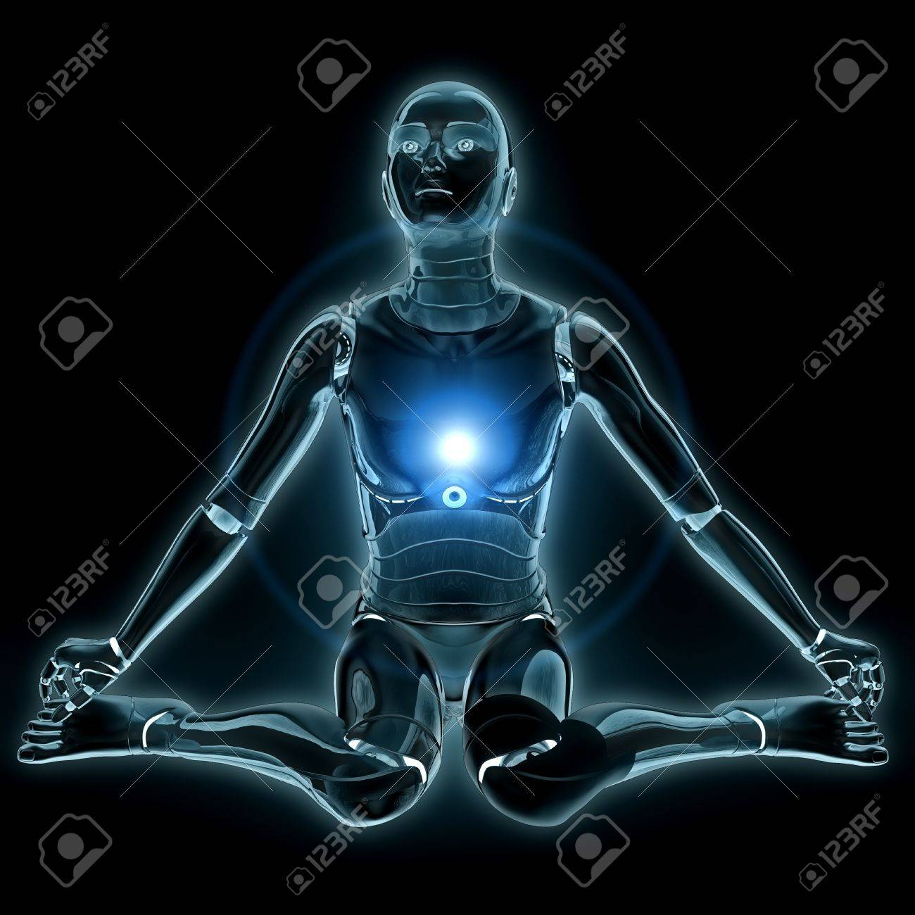 Humanoid robot glowing with flare over black background. Stock Photo - 19429561