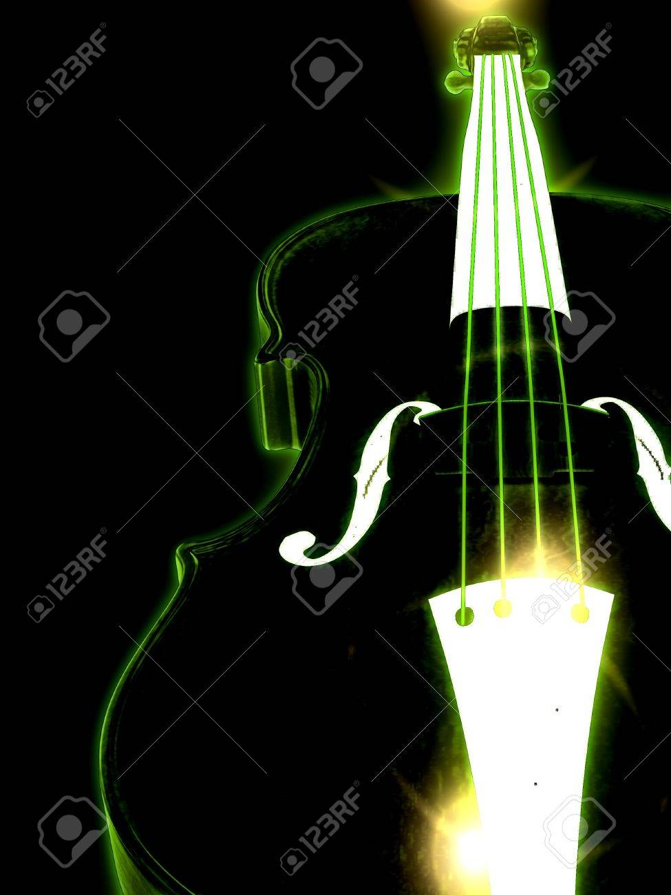Abstract glowing 3d violin over black background. Stock Photo - 19429766