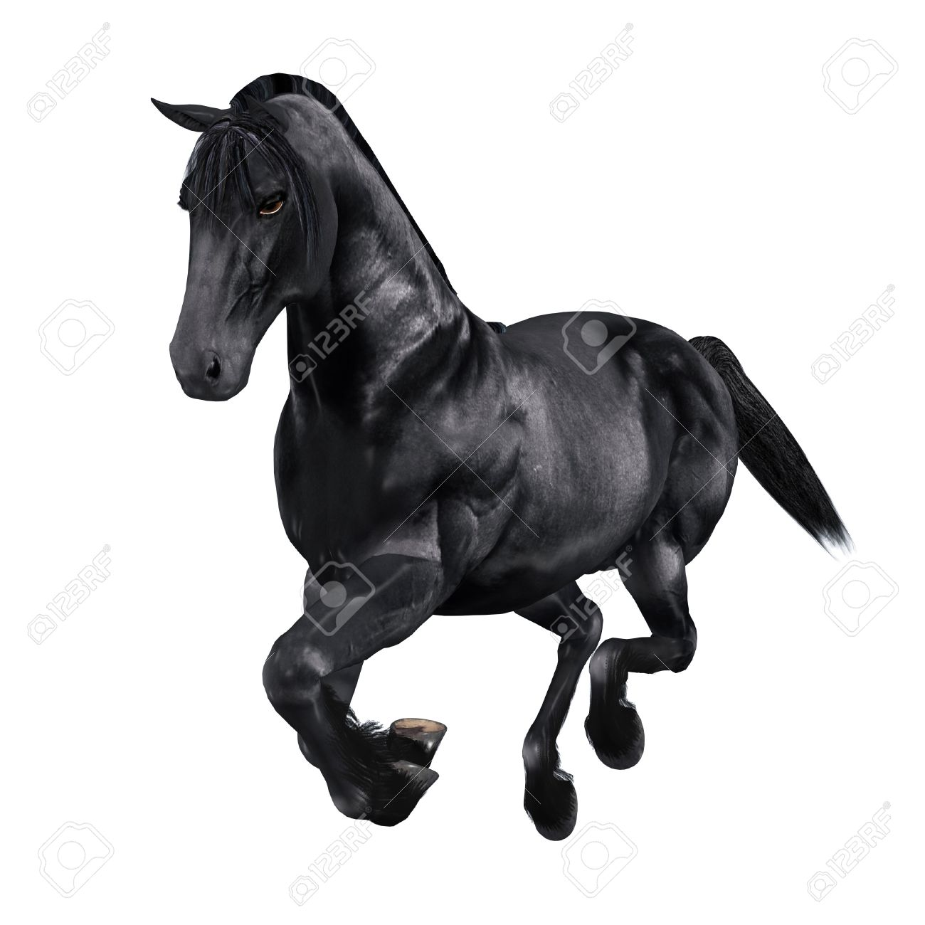 Digitally Rendered Image Of A Black Horse On White Background Stock Photo Picture And Royalty Free Image Image 21658122