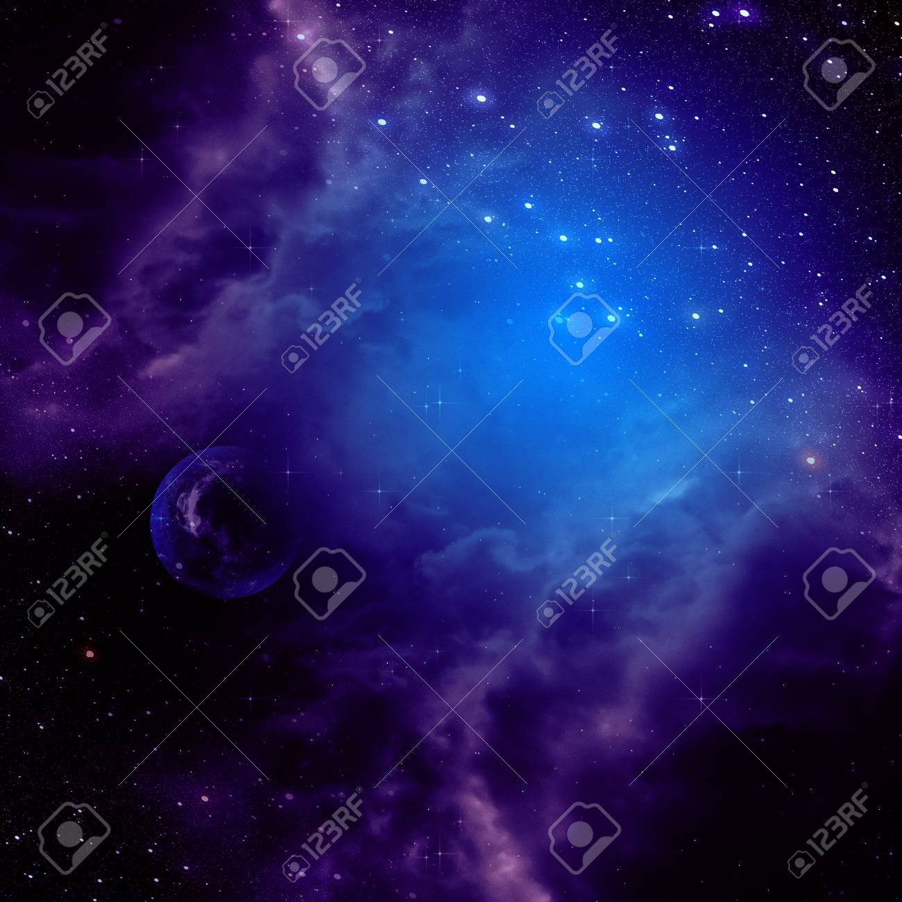 Purple Space Clouds And Stars Abstract Background