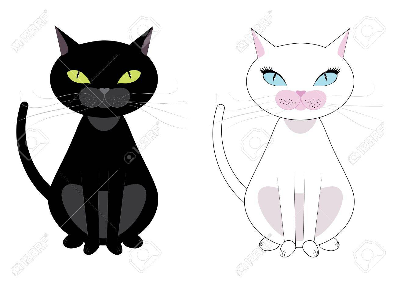 Two Black And White Cats Black Have Green Eyes White With Blue Royalty Free Cliparts Vectors And Stock Illustration Image 21722960
