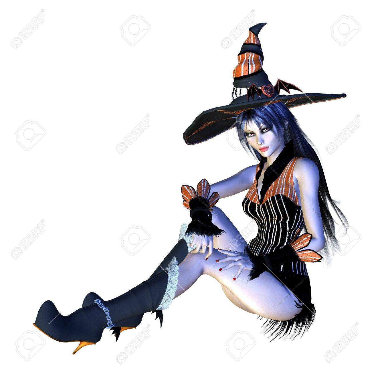Digitally rendered image of halloween witch on white background. Stock Photo - 21787426
