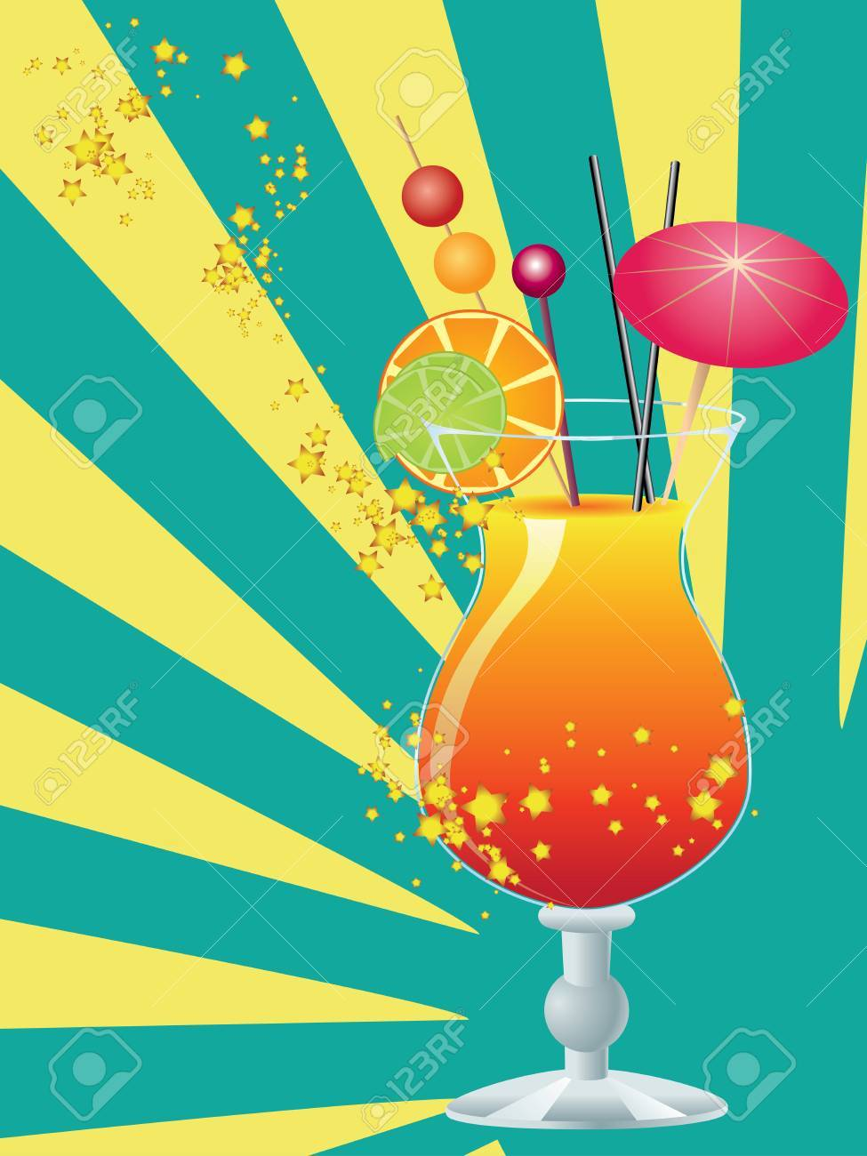 Orange cocktail garnished with a small umbrella, straw and orange slice. Stock Vector - 22693102