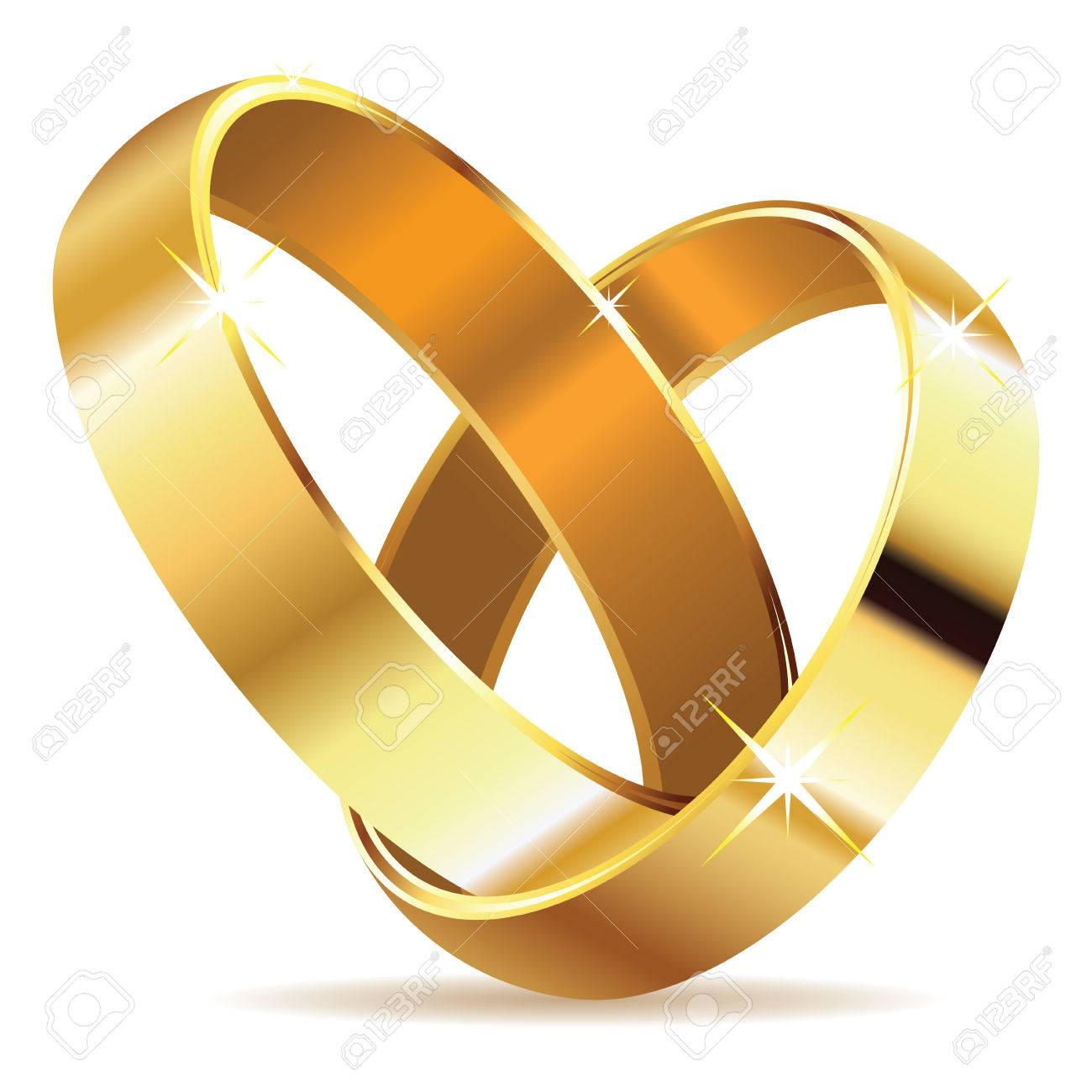 Two Wedding Rings In Shape Of Heart On White Stock Vector