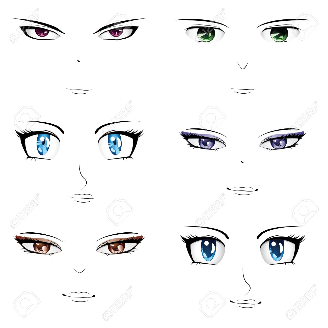 Set of different faces in manga anime style stock vector 23196512