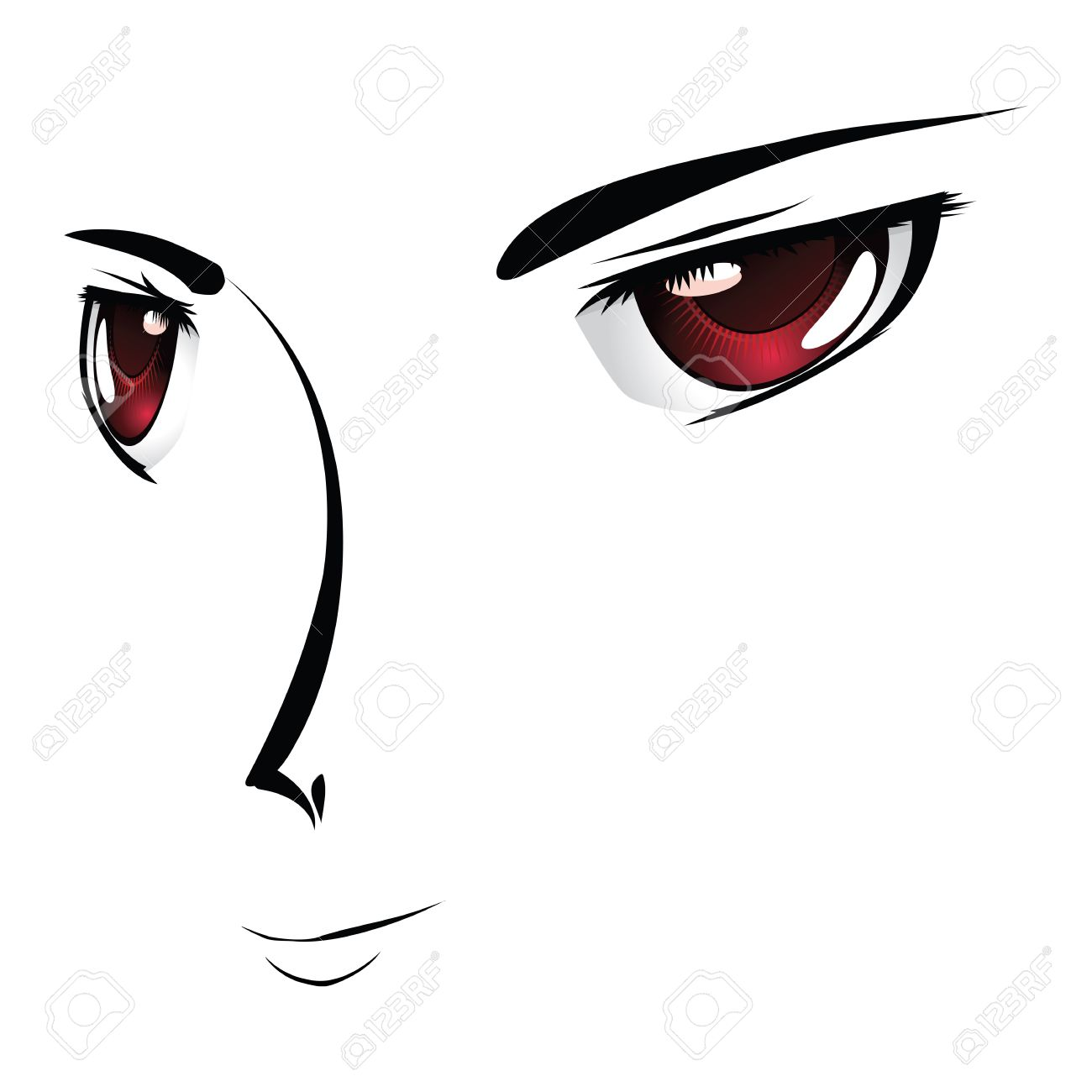 Simple Cartoon Face With Red Eyes In Anime Manga Style Stock Vector