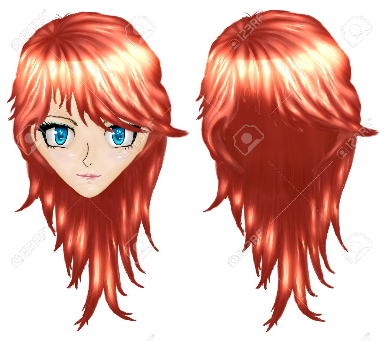 Beautiful red haired girl in anime manga style stock photo 23424658