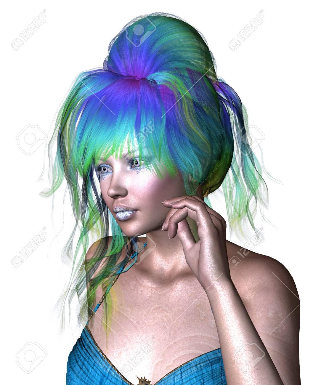 Blau grüne haare