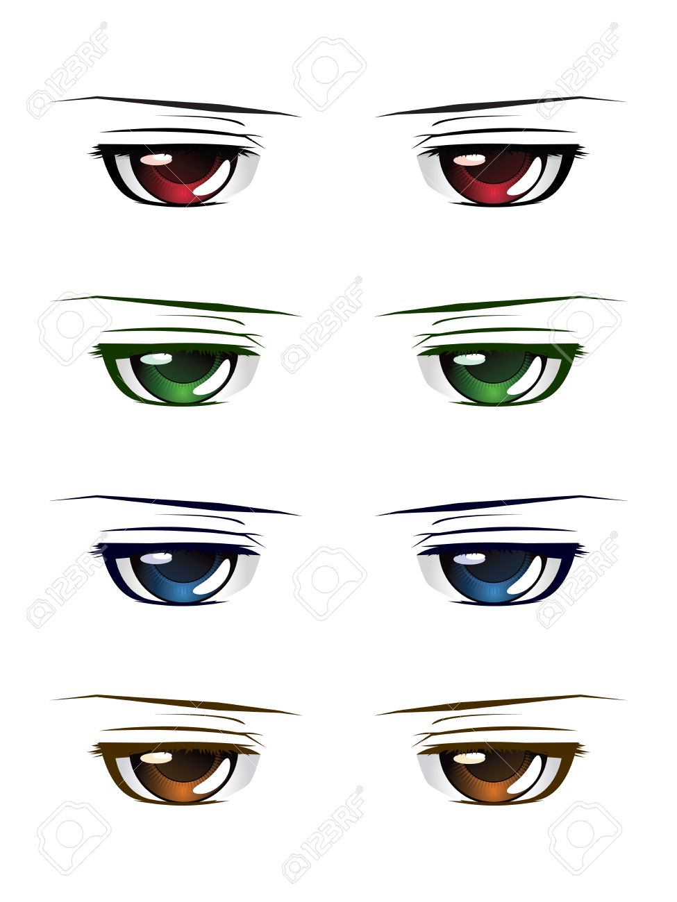 Manga anime style male eyes of different colors set on white background stock vector