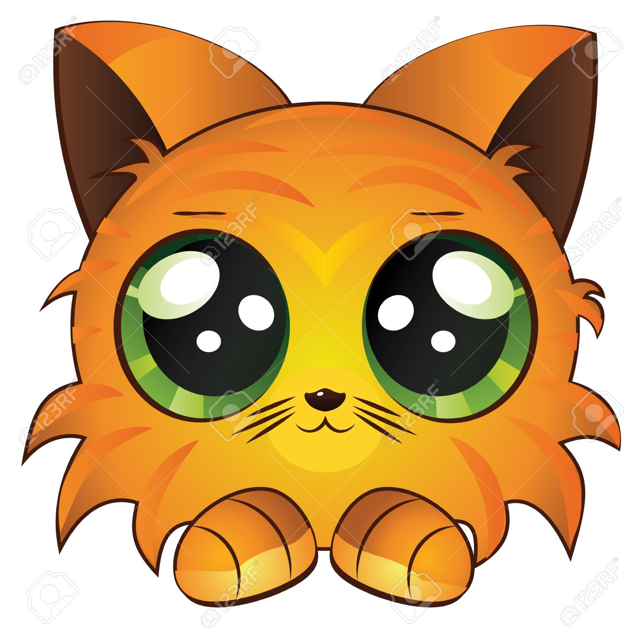 Cute Cartoon Red Kitten White Royalty Free Cliparts Vectors