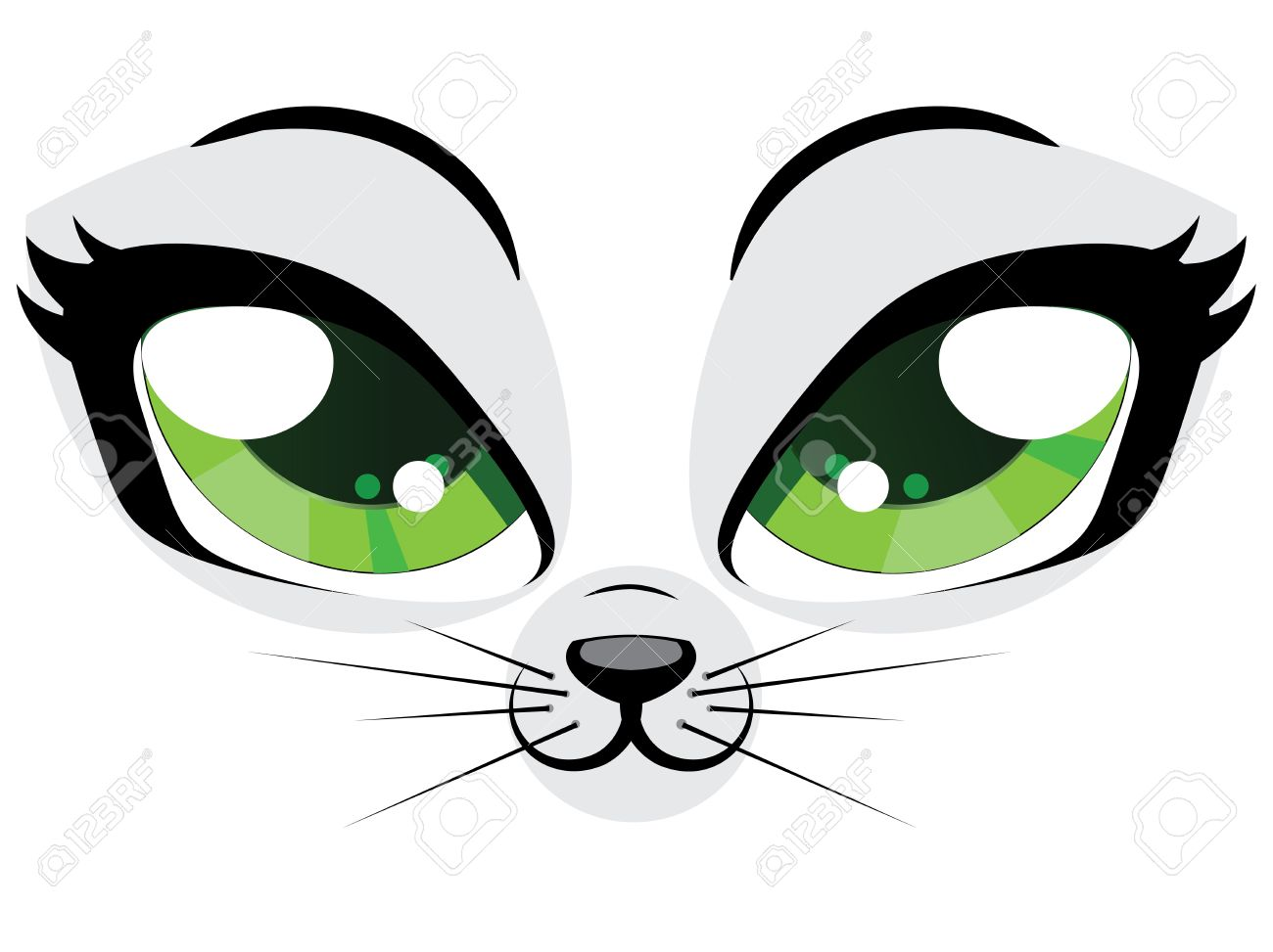 Image of: White Cute Cartoon Kitten Face With Green Eyes On White Background Stock Vector 25966557 123rfcom Cute Cartoon Kitten Face With Green Eyes On White Background