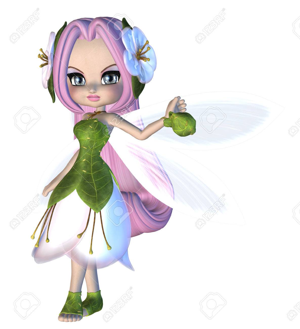 花柄のドレスにかわいい妖精のイラストをデジタル表示されます の写真