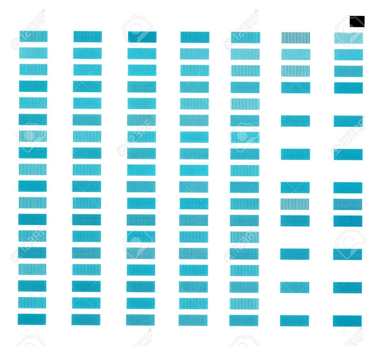 Color printing test - Simple Test Print Page With Rows Of Rectangles Of Blue Color Stock Photo 29655013