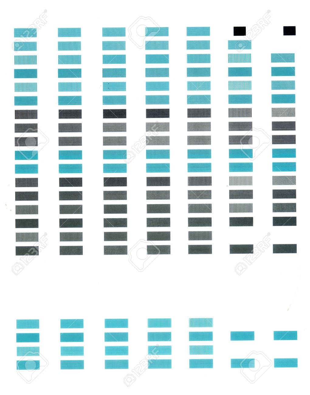 simple test print page with rows of rectangles of blue color
