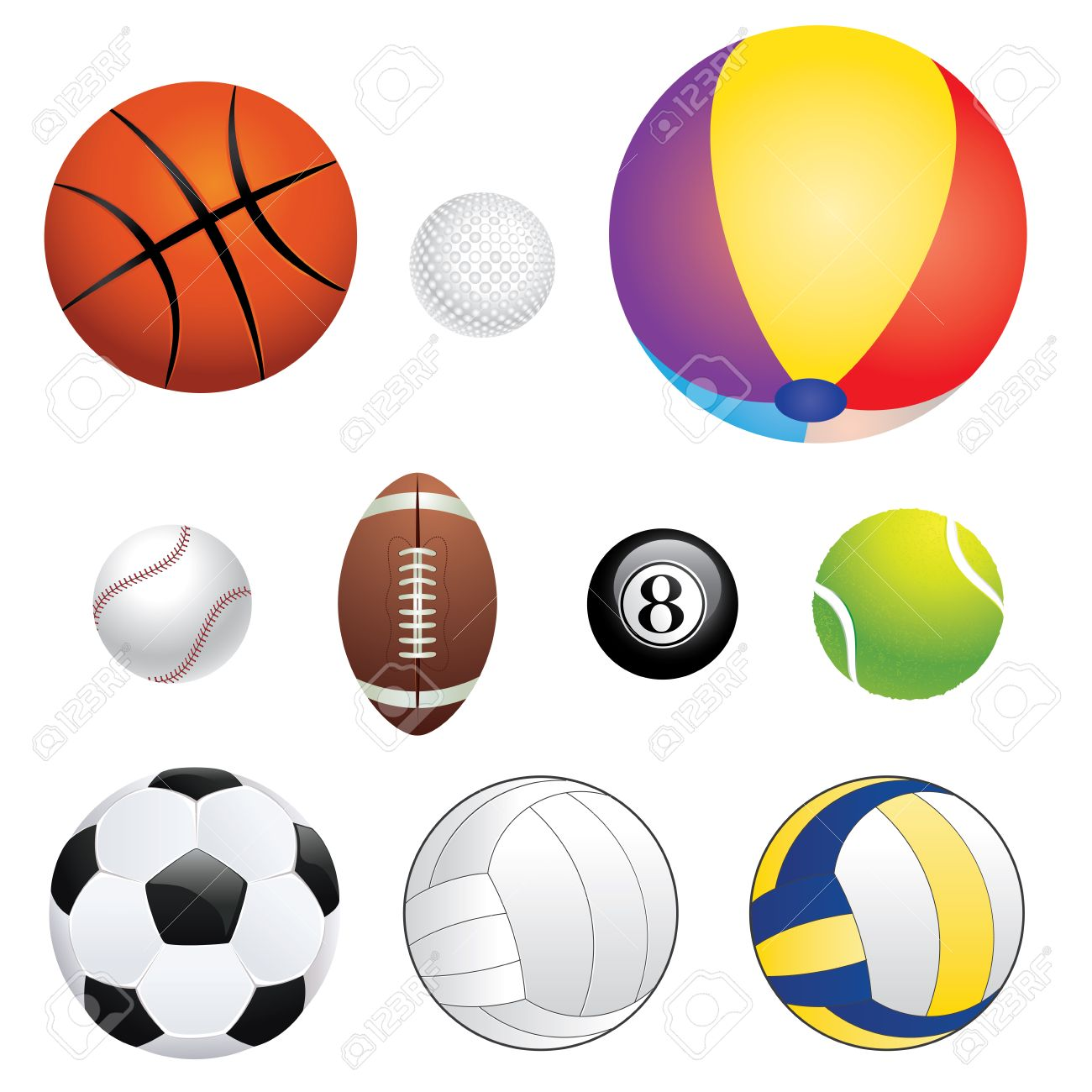 Different Sport Balls Set On White Background Stock Vector