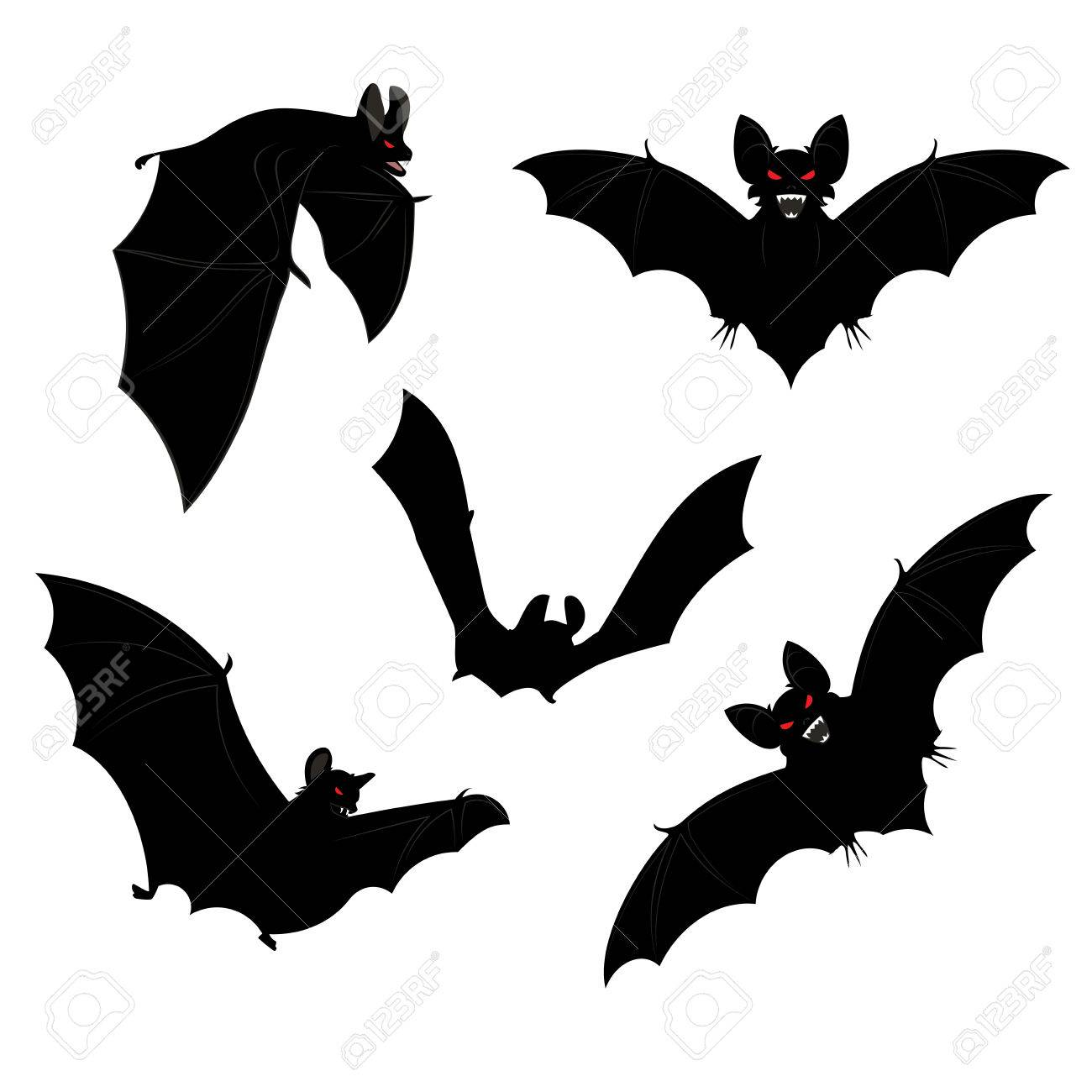 set of black halloween bats silhouettes with red eyes stock vector 32887294 - Halloween Pictures Bats