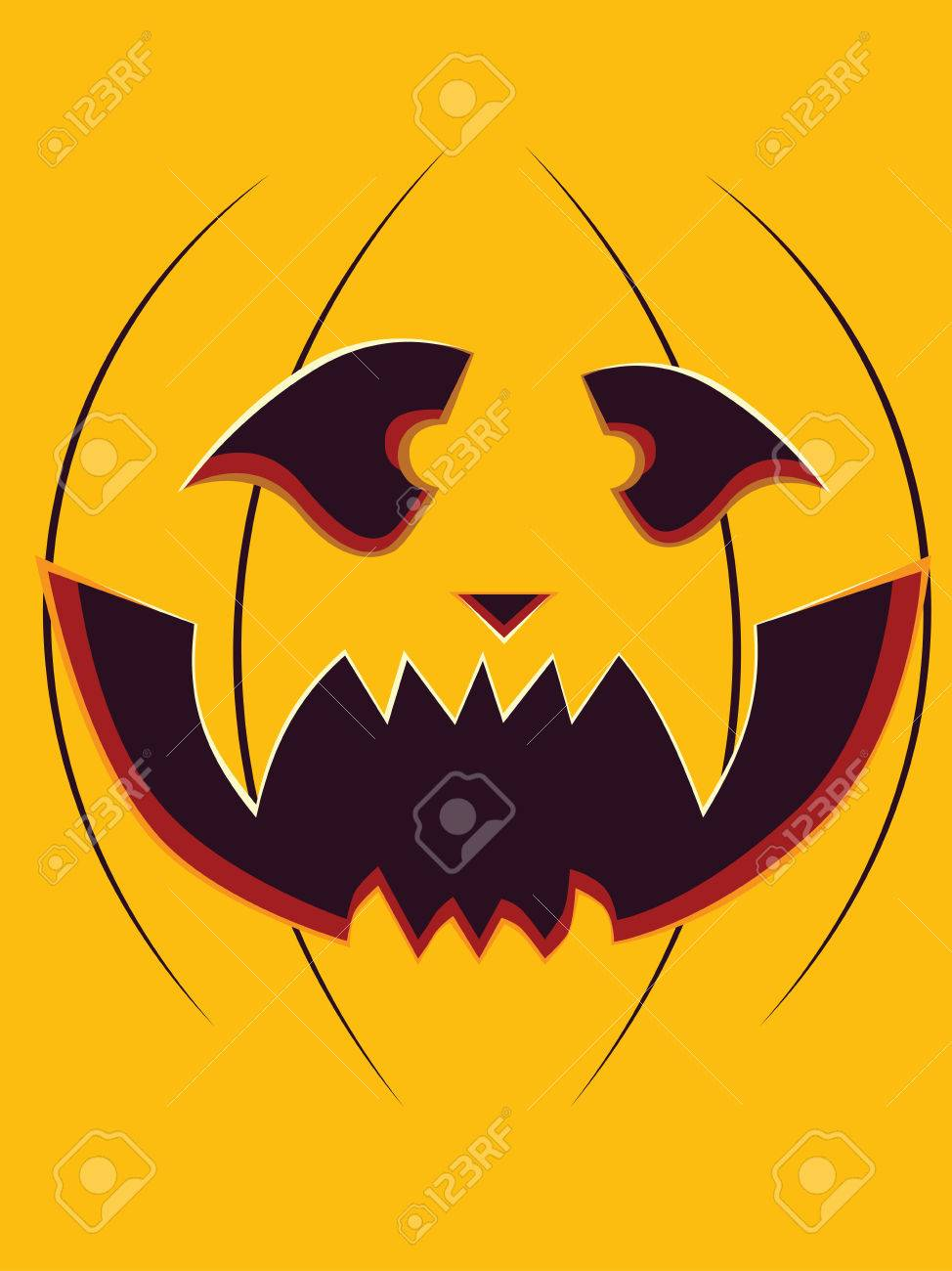 Happy Halloween Pumpkin Carving Face On Yellow Background Royalty Free Cliparts Vectors And Stock Illustration Image 33344381