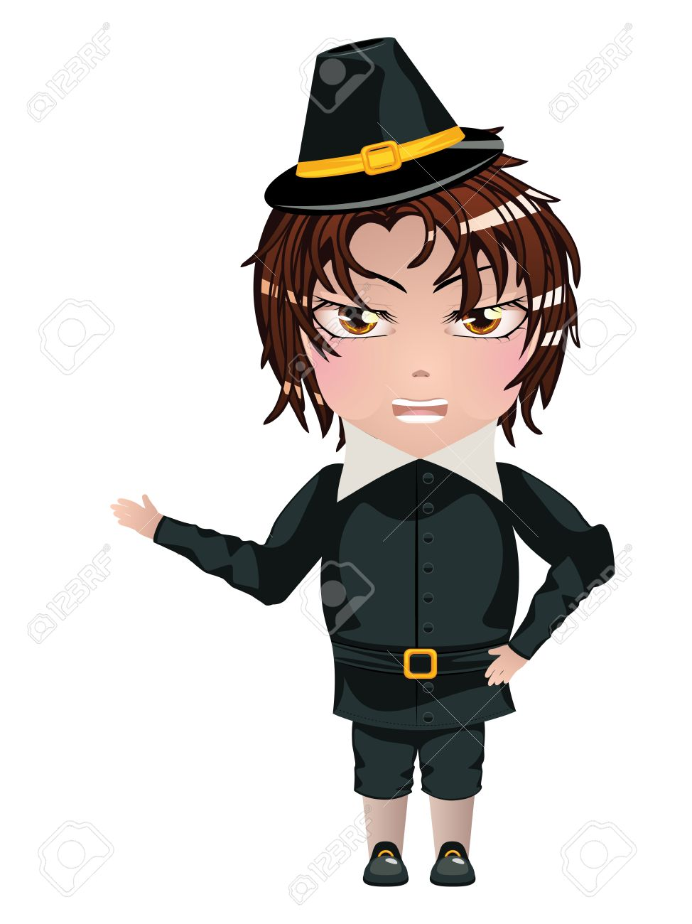 Illustration of a cartoon boy dressed in a pilgrim costume. Stock Vector - 34203182  sc 1 st  123RF.com & Illustration Of A Cartoon Boy Dressed In A Pilgrim Costume. Royalty ...