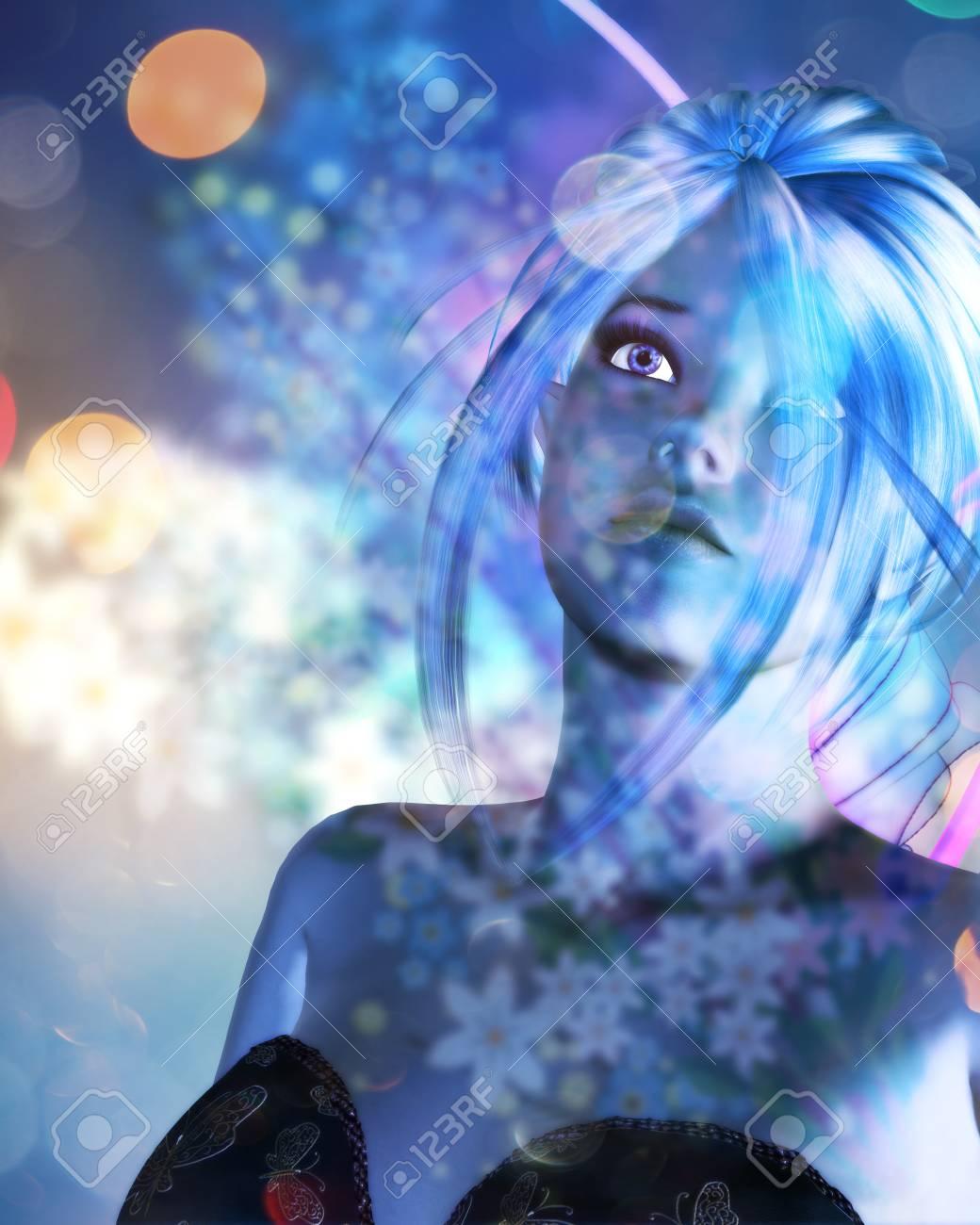ボケ ライトとカラフルな背景の妖精とのファンタジー イラスト