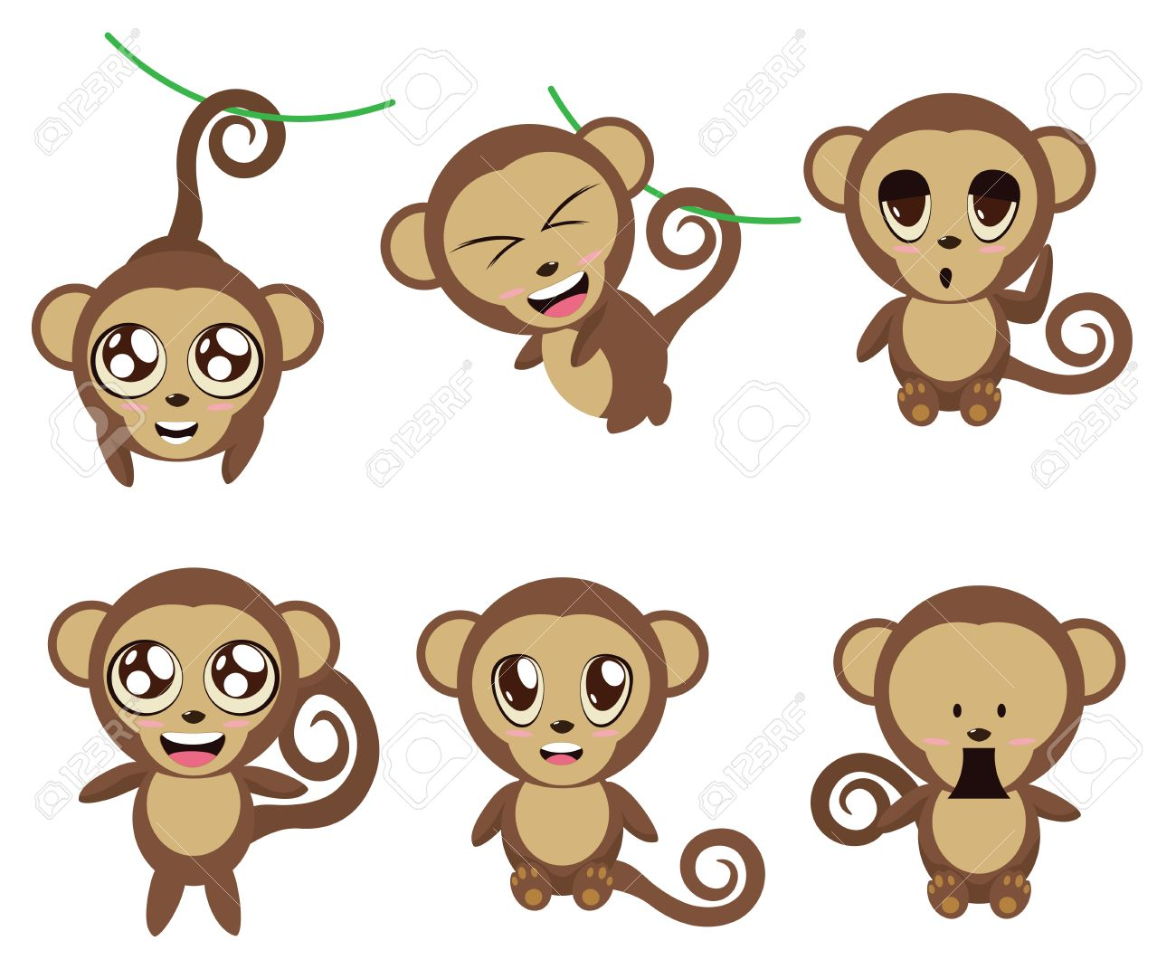 set of cartoon funny monkeys in different expressions and poses