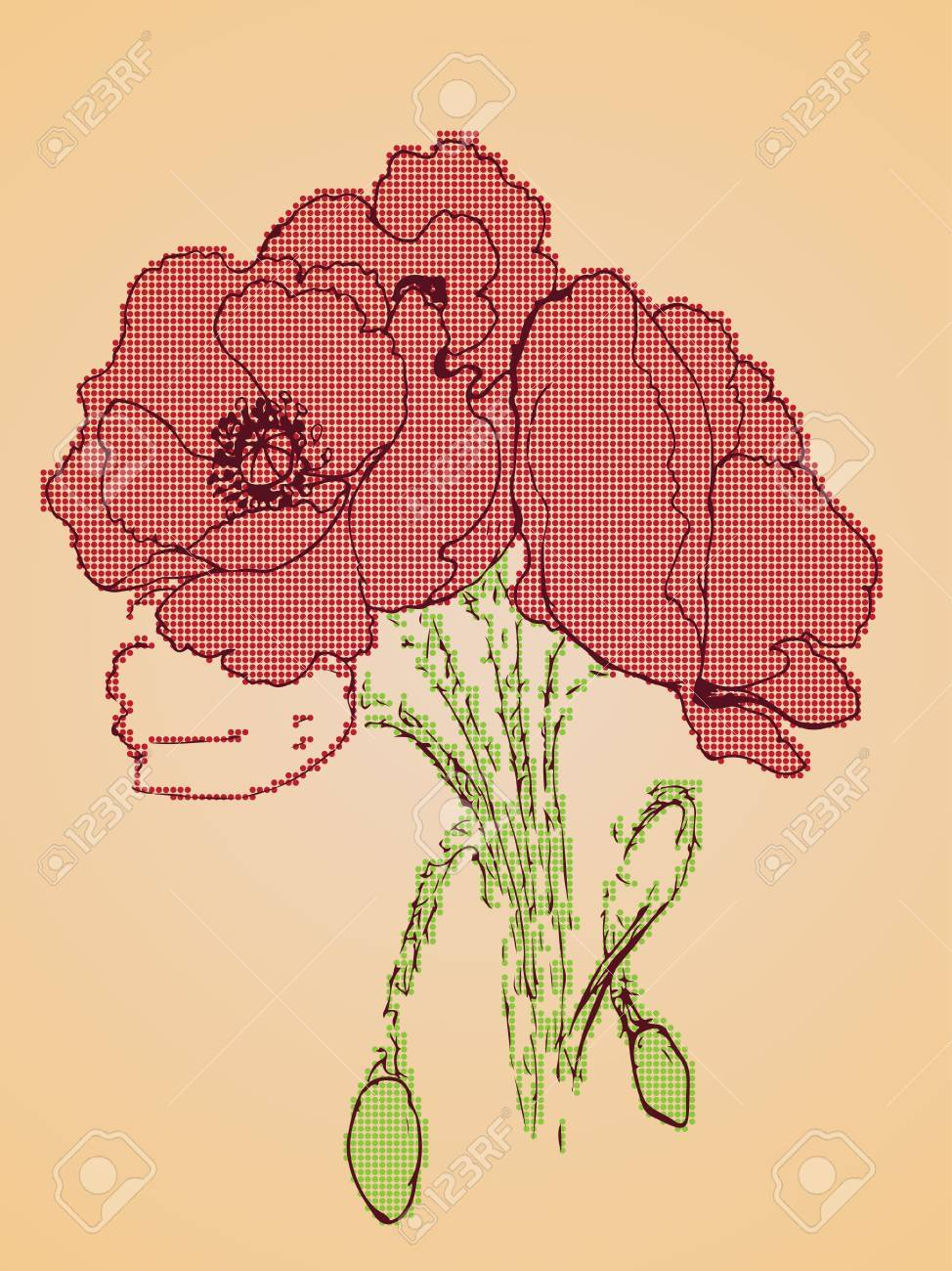 Grunge Sketch Of Poppy Flowers On Yellow Paper Background Royalty