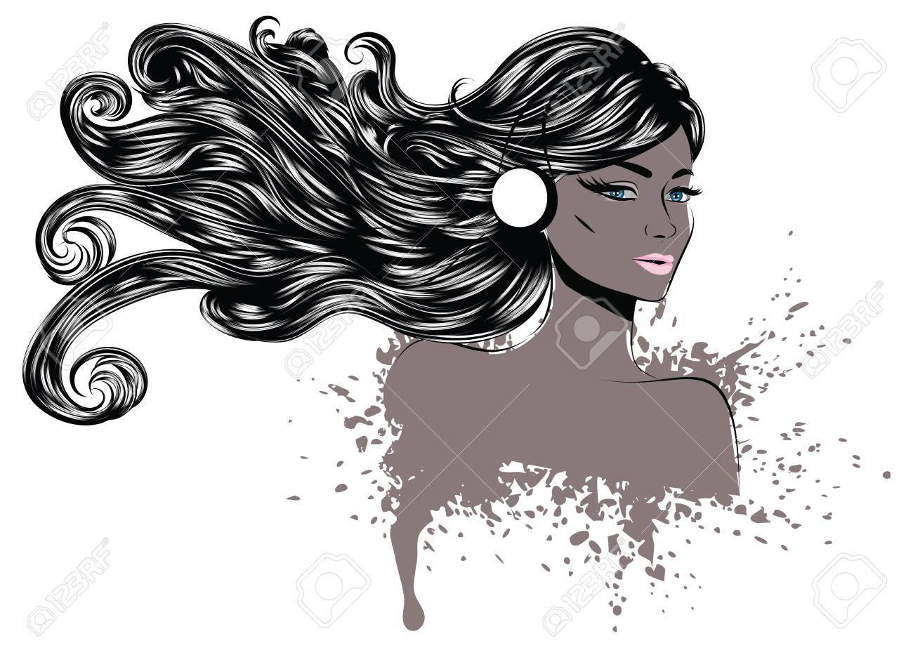 Line Art Portrait : Grunge line art portrait of a woman with long wavy hair royalty