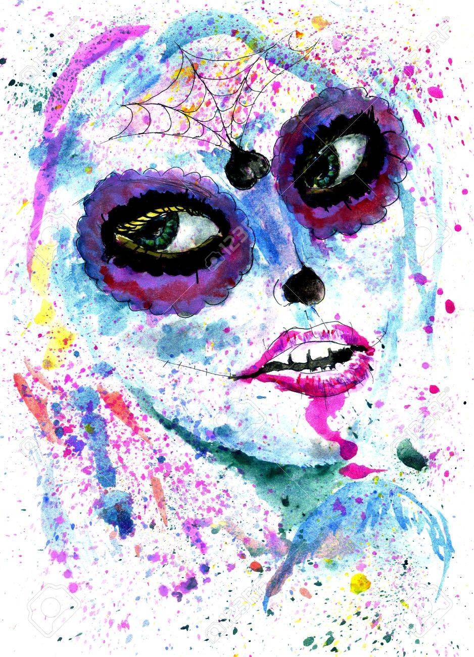 foto de archivo halloween nia con maquillaje del crneo del azcar la pintura de acuarela