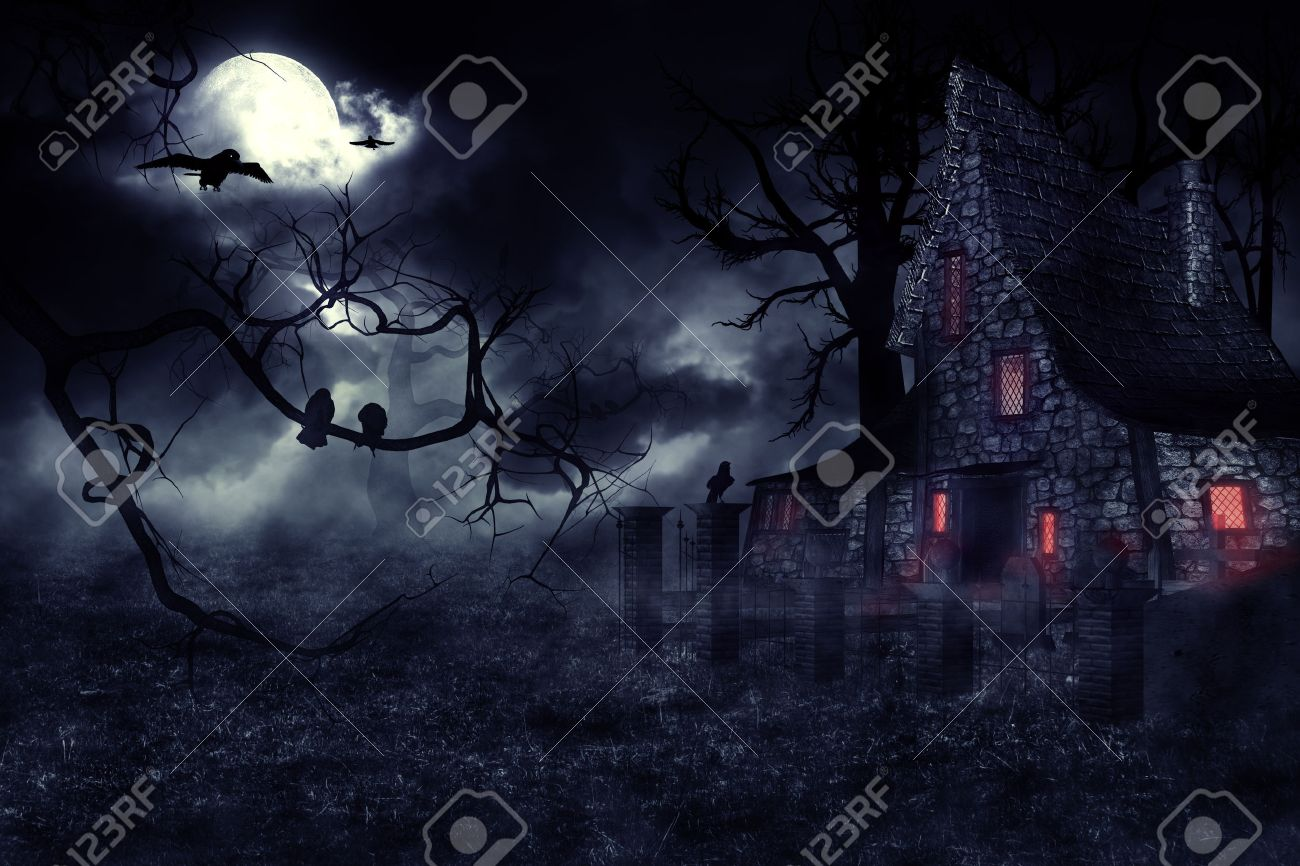 dark mysterious halloween landscape with an old house stock photo - Spooky Halloween Pictures Free